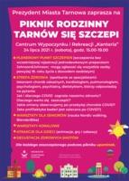 """Plakat pikniku rodzinnego """"Tarnów się szczepi"""""""