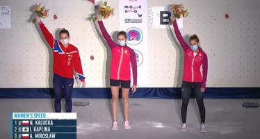 Medalistki MŚ we wspinaczce sportowej w konkurencji na czas. W środku Natalia Kałucka