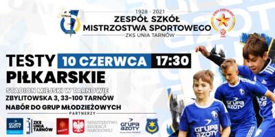Plakat naboru do Zespołu Szkół Mistrzostwa Sportowego ZKS Unia Tarnów