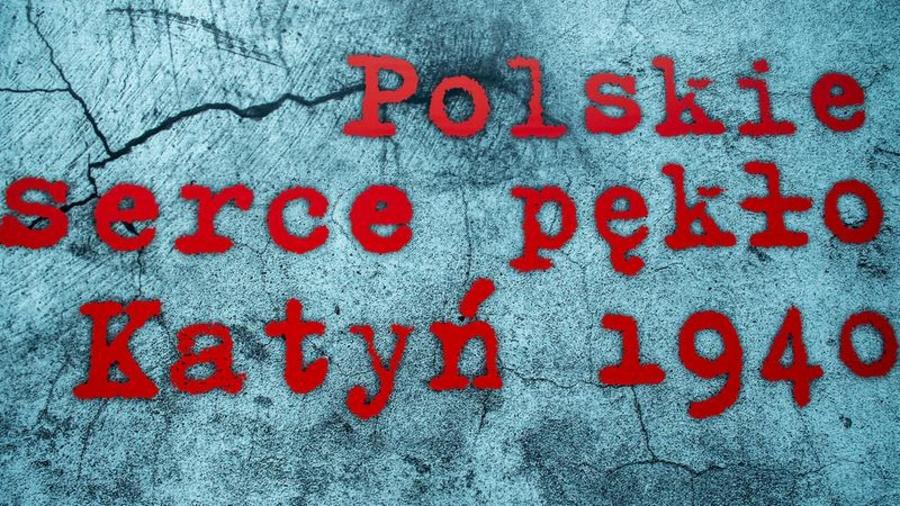 "Plakat konkursu ""Polskie serce pękło. Katyń 1940"""