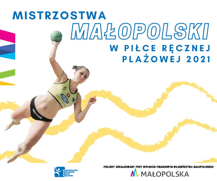 Plakat Mistrzostw Małopolski w plażowej piłce ręcznej