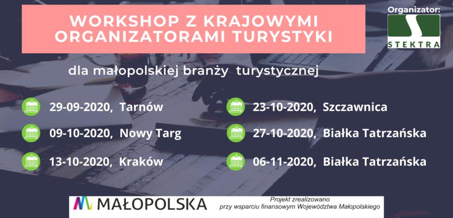Plakat warsztatów dla małopolskiej branży turystycznej