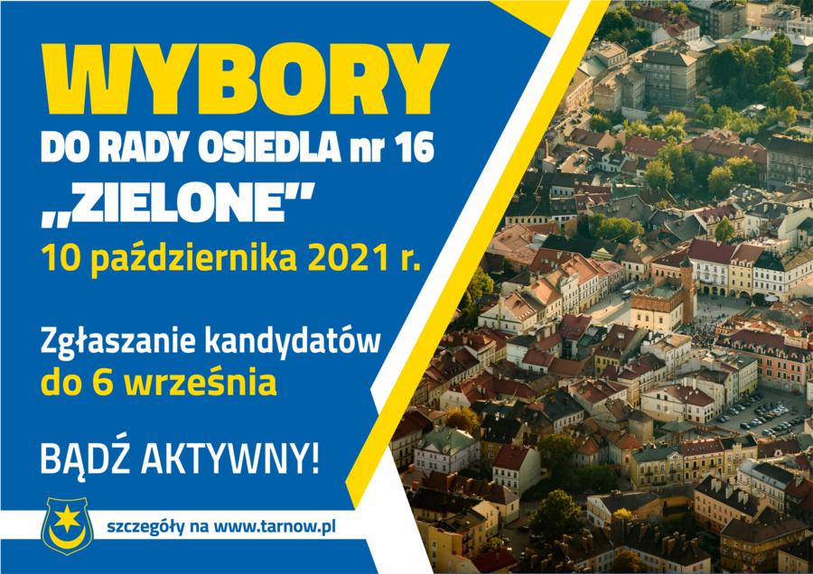 """Plakat wyborów do Rady Osiedla nr 16 """"Zielone"""""""